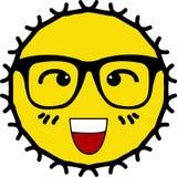 Ghignare fronte sul sole giallo d'uso di vetro royalty illustrazione gratis