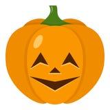 Ghignare l'icona piana della zucca di Halloween illustrazione vettoriale