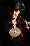 Ghignare pirata con un CD-ROM fotografie stock libere da diritti