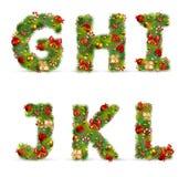 GHIJKL, Weihnachtsbaumschrifttyp Stockfotos
