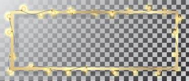 Ghirlanda d'ardore leggera di Natale e struttura dorata su fondo trasparente illustrazione di stock