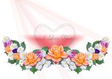 Ghirlanda dei fiori con i cuori su un fondo bianco Fotografia Stock Libera da Diritti
