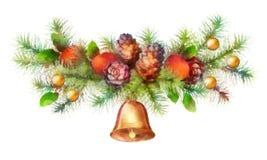 Ghirlanda dell'acquerello di festa di Natale Fotografie Stock Libere da Diritti