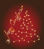 Ghirlanda dell'albero di Natale incandescenza Fotografie Stock Libere da Diritti