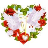 Ghirlanda della Rosa sotto forma della colomba delle coppie e del cuore Fotografia Stock Libera da Diritti