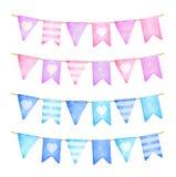 Ghirlanda delle bandiere rosa e blu Celebrazione di compleanno Illustrazione dell'acquerello Fotografie Stock Libere da Diritti