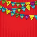 Ghirlanda di carta su fondo rosso Fotografia Stock Libera da Diritti