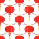 Ghirlanda di colore con forma circolare delle lanterne cinesi Il modello senza cuciture di vettore può essere usato per il manife Immagine Stock Libera da Diritti