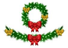 Ghirlanda di Natale con il vettore delle luci bianche isolata Fotografia Stock