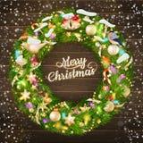 Ghirlanda di Natale con le bagattelle ENV 10 Fotografia Stock Libera da Diritti