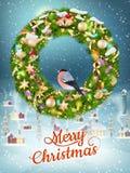 Ghirlanda di Natale con le bagattelle ENV 10 Fotografia Stock