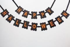 Ghirlanda felice della carta del nero del partito di Halloween Fotografia Stock Libera da Diritti