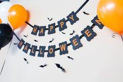 Ghirlanda felice della carta del nero del partito di Halloween Fotografie Stock Libere da Diritti