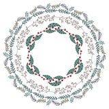 Ghirlanda rotonda con i fiori di stagione royalty illustrazione gratis