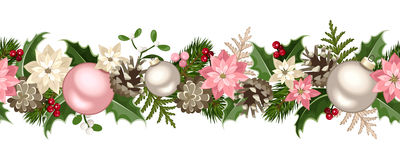 Ghirlanda senza cuciture di Natale con i rami dell'abete, palle dell'argento e di rosa, agrifoglio, stella di Natale, coni e visc Fotografia Stock