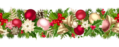 Ghirlanda senza cuciture di Natale con le palle, le campane, l'agrifoglio, la stella di Natale ed i coni Illustrazione di vettore Immagini Stock Libere da Diritti