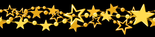 Ghirlanda senza cuciture orizzontale con le stelle dorate. Immagine Stock Libera da Diritti