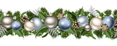 Ghirlanda senza cuciture orizzontale di Natale. Fotografia Stock Libera da Diritti