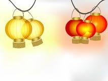 Ghirlande delle lanterne di carta gialle e rosse Fotografia Stock Libera da Diritti