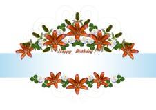 Ghirlande di buon compleanno dei gigli arancio e degli aster bianchi Fotografie Stock