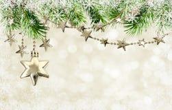Ghirlande di Natale con le stelle ed i ramoscelli del pino Immagine Stock Libera da Diritti