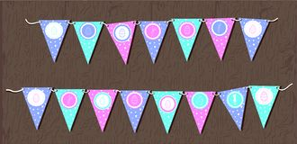 Ghirlande di Pasqua di vettore con le bandiere, le uova, i cuori ed i conigli colori delicati dell'illustrazione Profila il conig illustrazione di stock
