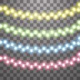 Ghirlande, effetti delle luci delle decorazioni di Natale Elementi isolati di progettazione di vettore Luci d'ardore per la festa illustrazione vettoriale