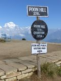 Ghorepani Poon Hill sign, Nepal. Ghorepani Poon Hill sign, Dhaulagiri range from Poon Hill - one of the most visited Himalayan view points in Nepal, view to snow stock photo