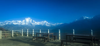 Ghorepani Viewing Annapurna Mountain Range. Ghorepani is one of the biggest village in the Annapurna mountains of Nepal. This village is one of the most popular royalty free stock photos