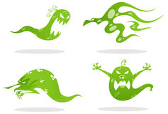 Ghost. Set of green friendly ghost royalty free illustration