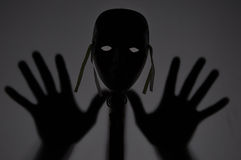 Ghost. Image showing the head and fingers silhouette Royalty Free Stock Photo