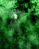 Ghost. Abstract background with ghost on green stock illustration
