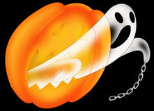 Ghost. Color illustration of a ghost coming out of a pumpkin Royalty Free Stock Image