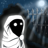 Ghost. Cartoonish ghost creature in white cloak at the cemetery in the night vector illustration