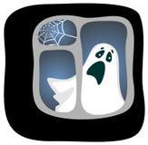 Ghost. Cartoon phantom in a dark window with a cobweb. Halloween illustration Royalty Free Stock Image