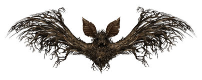 Ghost Bat. Isolated on a white background as a creepy scary surreal flying winged creature made from a tree as a spooky surrealistic vampire horror symbol or Royalty Free Stock Image