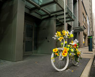 Ghost Bike Bicycle. Ghost bicycle on side of road depicting the loss of a dear one due to bike accident Stock Images
