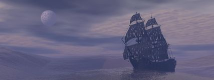 Ghost boat by night - 3D render. Old ghost boat floating on the ocean by grey foggy night with full moon Royalty Free Stock Photos