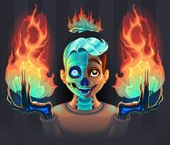 Ghost boy with fire in his hands. Vector cartoon horror illustration royalty free illustration