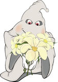 Ghost and bunch of flowers cartoon Royalty Free Stock Photo