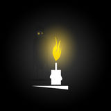 Ghost and candle in darkness. Vector Stock Photo