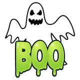 Ghost. Cartoon illustration of a ghost with boo text royalty free illustration