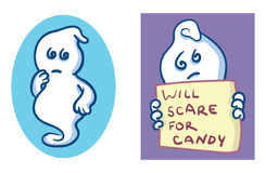 Ghost cartoons. Puzzled and begging Halloween ghosts Stock Photo