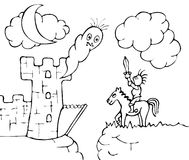 Ghost castle and knight. Black and white illustration of a knight fighting a ghost in front of a castle. Possible to use as a fill-in or find differences Royalty Free Stock Photos