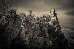 Ghost castle in the sky. A view of dark castle in the sky Stock Photos