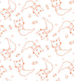 Ghost cat pattern. Seamless pattern of hand drawn cute cartoon ghost cat with fish. Design for children - textile, wallpaper, wrapping paper Stock Photo