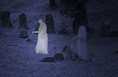 Ghost on the cemetery Stock Photography