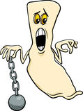 Ghost with chain cartoon illustration Stock Photos