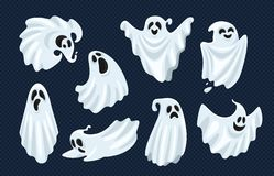 Free Ghost Character. Halloween Scary Ghostly Monster, Dead Boo Spook And Spooky Fly Anima Isolated Cartoon Vector Set Stock Photos - 126023633