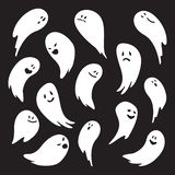 Ghost character set. Cute illustration of a friendly ghost being playful on a dark background vector illustration